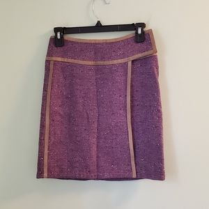 Barbara Bui Lilac Wool Skirt with Suede Trim